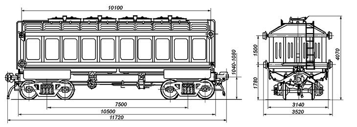 4-осный вагон с поднимающимся кузовом для аппатита, модель 10-4022
