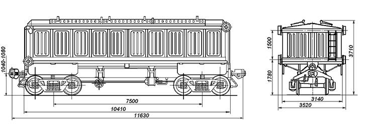 4-осный крытый вагон с поднимающимся кузовом для аппатитового концентрата, модель 10-475