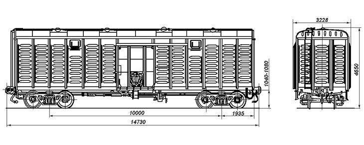 4-осный крытый цельнометаллический вагон, модель 11-К001