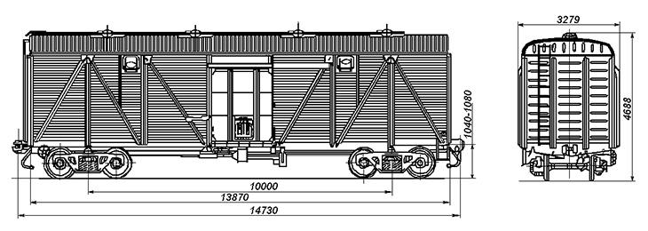4-осный крытый вагон (с металлической торцовой стеной), модель 11-066