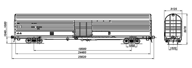 4-осный крытый вагон, модель 11-1709