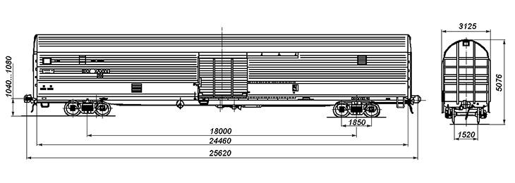 4-осный крытый вагон, модель 11-1759
