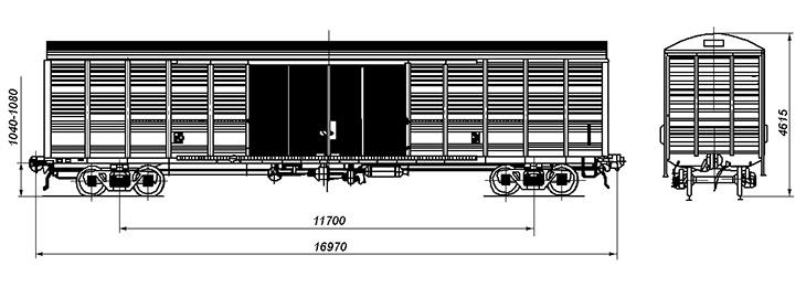 4-осный крытый вагон, модель 11-1807