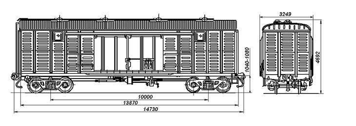 4-осный крытый цельнометаллический вагон с уширенными дверными проемами, модель 11-217