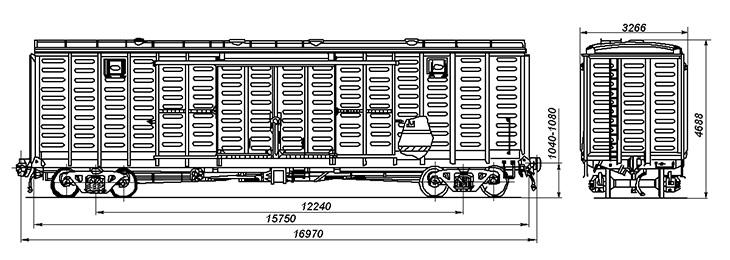 4-осный крытый цельнометаллический вагон с уширенными дверными проемами, модель 11-260