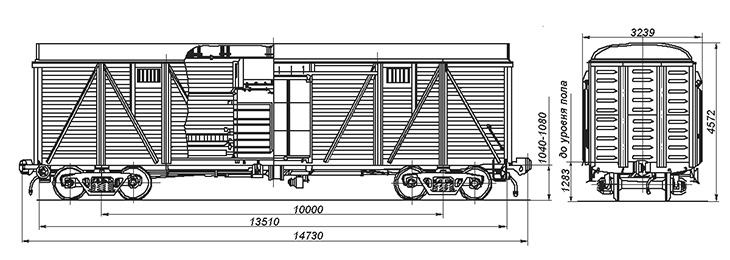 4-осный крытый вагон для скота, модель 11-261