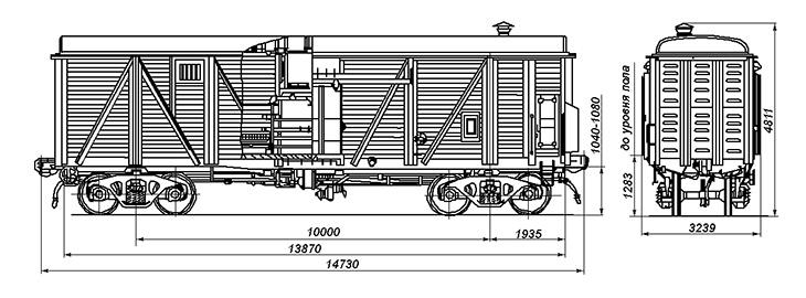 4-осный крытый одноярусный вагон для скота со служебным отделением, модель 11-262