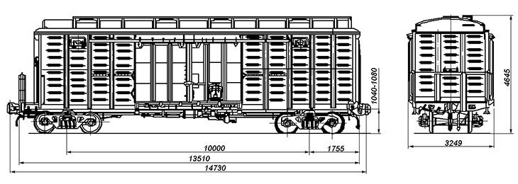 4-осный цельнометаллический вагон с переходной площадкой и уширенными дверными проемами, модель 11-264