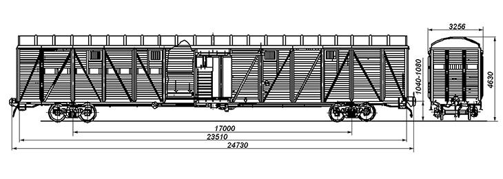 4-осный крытый вагон для скота, модель 11-267