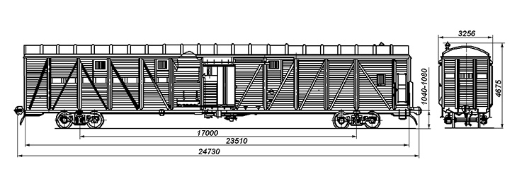 4-осный крытый вагон для скота, модель 11-268