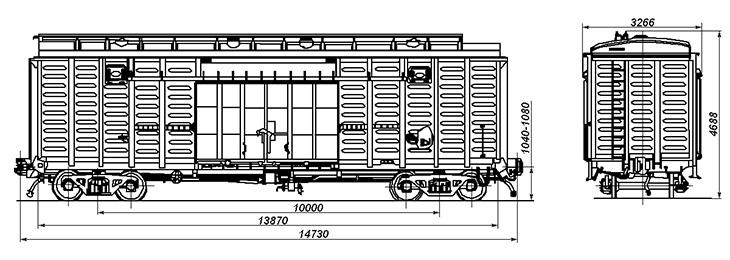4-осный крытый цельнометаллический вагон с уширенными дверными проемами, модель 11-270