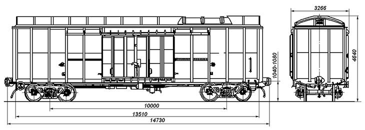 4-осный крытый вагон, модель 11-274