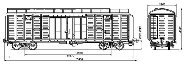 4-осный крытый цельнометаллический вагон с уширенными дверными проемами, модель 11-276