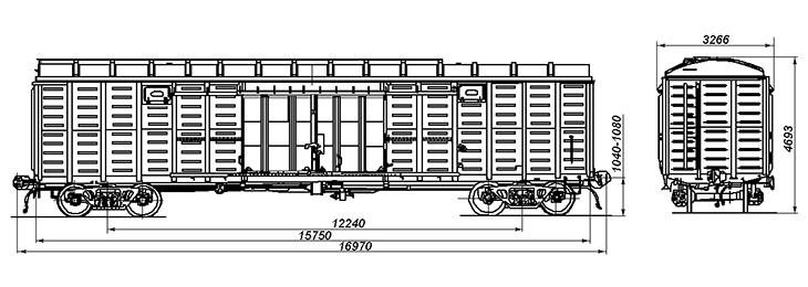 4-осный крытый вагон, модель 11-280-01