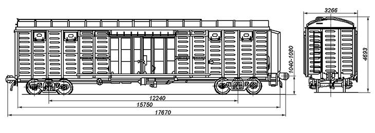 4-осный крытый цельнометаллический вагон с уширенными дверными проемами, модель 11-286