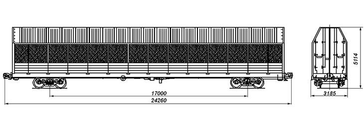 4-осный крытый вагон для легковых автомобилей, модель 11-287