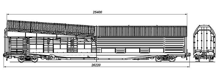 4-осный крытый вагон с поднимающимися полукрышами для перевозки автомобилей, модель 11-3114