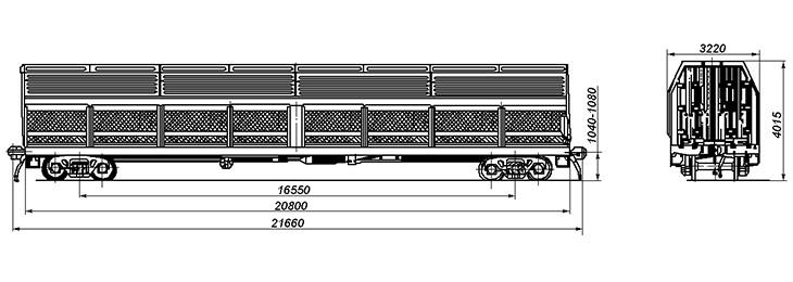 4-осный модернизированный вагон для микроавтобусов, модель 11-4081