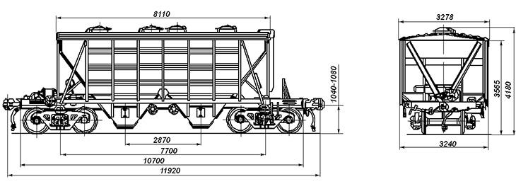 4-осный крытый вагон-хоппер для цемента, модель 11-715