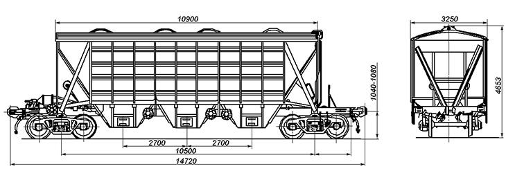 4-осный крытый вагон-хоппер для зерна, модель 11-739