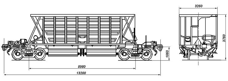 4-осный вагон для сыпучих грузов, модель 11-740-01