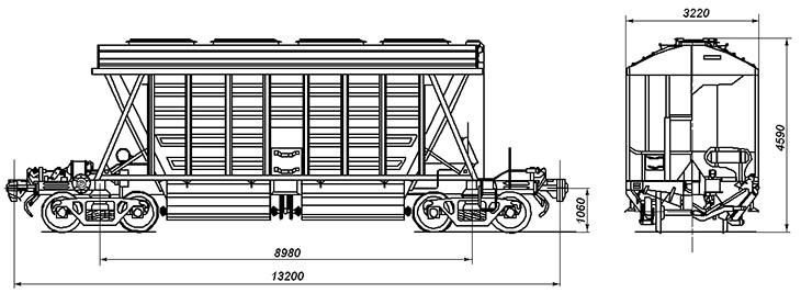 4-осный крытый вагон для минеральных удобрений, модель 11-740
