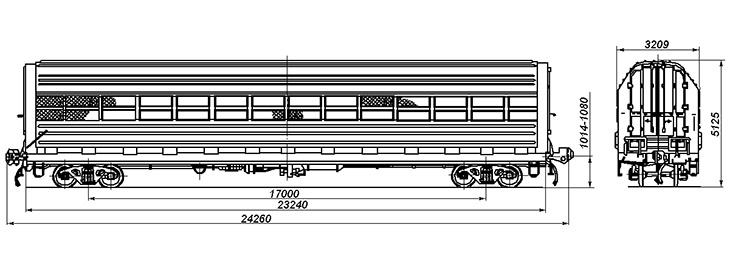 4-осный крытый вагон для легковых автомобилей, модель 11-835