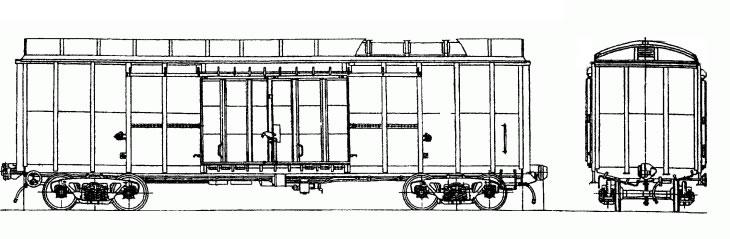 4-осный крытый вагон для скота с верхним расположением люков, модель 11-С001