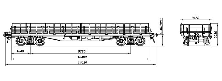 4-осная платформа универсальная с нарощенными бортами, модель 13-4012