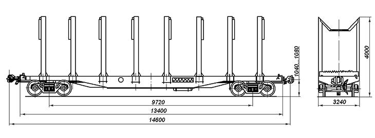 4-осная платформа для лесоматериалов, модель 13-401 и 13-4012