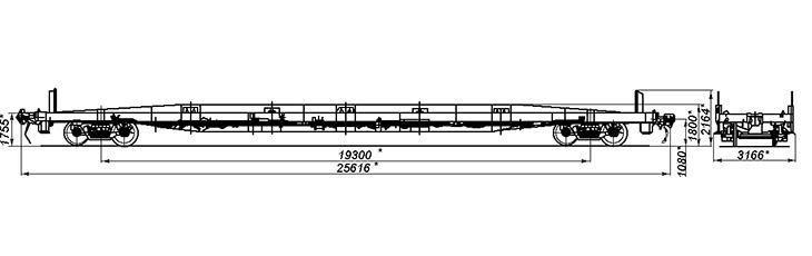 4-осная платформа для крупнотоннажных контейнеров, модель 13-9751