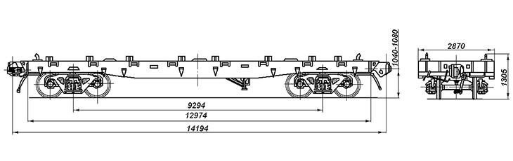 4-осная платформа для крупнотоннажных контейнеров, модель 13-H004