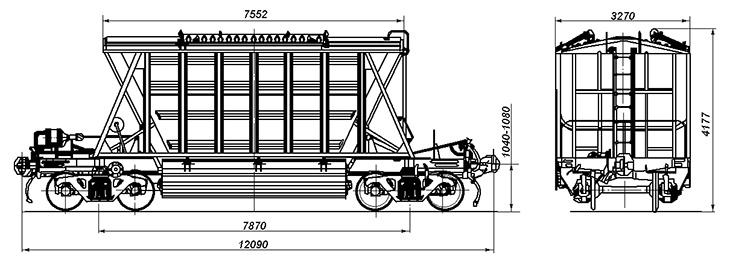 4-осный крытый вагон-хоппер для сырья минеральных удобрений, модель 19-Х051
