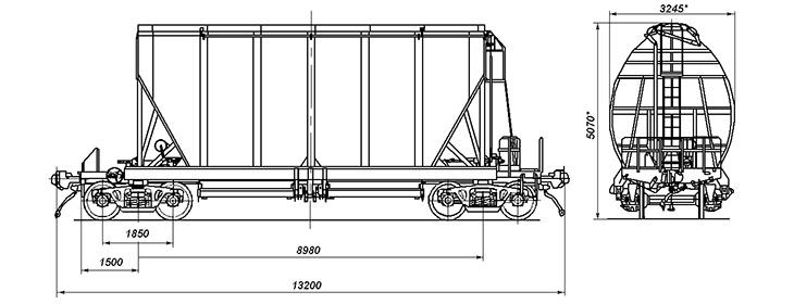 4-осный вагон-хоппер для перевозки сыпучих грузов, модель 19-187-01