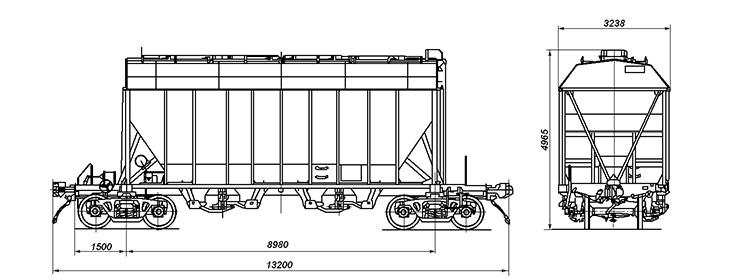 4-осный вагон-хоппер для перевозки сыпучих грузов, модель 19-187