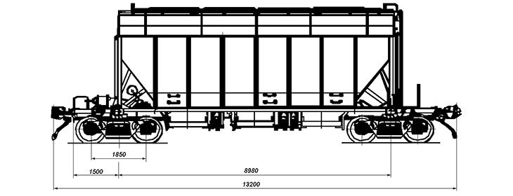4-осный вагон-хоппер для минеральных удобрений, модель 19-193