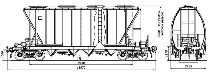 4-осный крытый вагон-хоппер для минеральных удобрений и кальцинированной соды, модель 19-3116-04