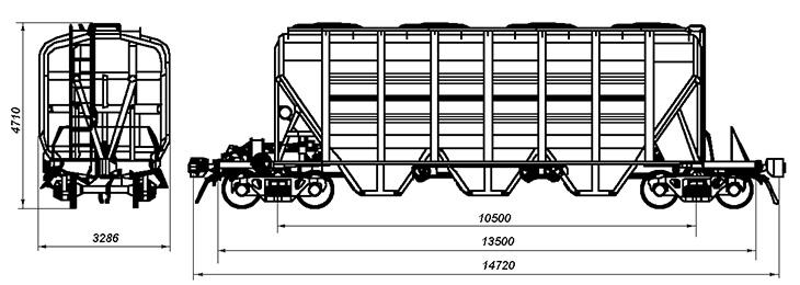 4-осный крытый вагон-хоппер для зерна и других пищевых грузов, модель 19-4109-01