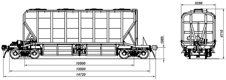 4-осный крытый вагон-хоппер для минеральных удобрений и сырья, модель 19-4109-02