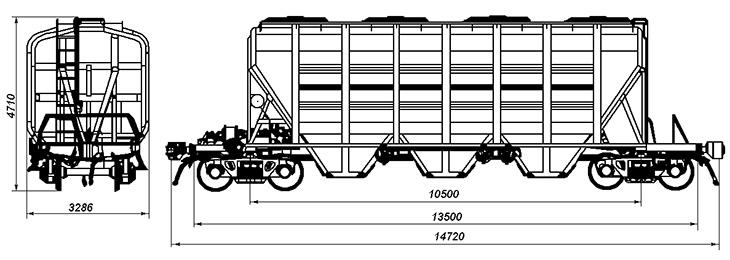 4-осный крытый вагон-хоппер для минеральных удобрений и сырья, модель 19-4109-03