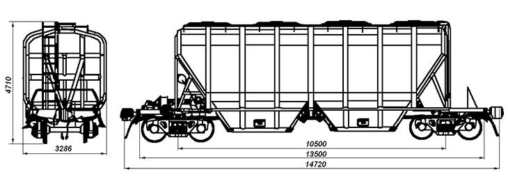 4-осный крытый вагон-хоппер для минеральных удобрений и сырья, модель 19-4109