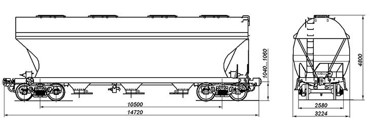 4-осный вагон для сыпучих грузов, модель 19-7016