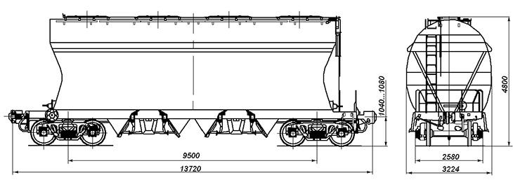 4-осный вагон для сыпучих грузов, модель 19-7017-01