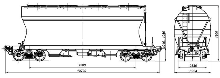 4-осный вагон для сыпучих грузов, модель 19-7017