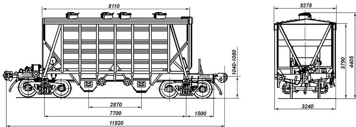 4-осный крытый вагон-хоппер для цемента, модель 19-758