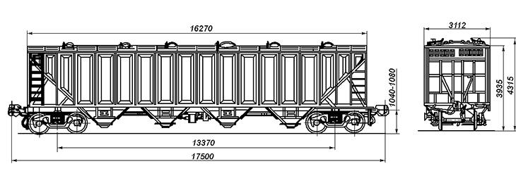 4-осный крытый вагон-хоппер для гранулированной сажи, модель 20-403