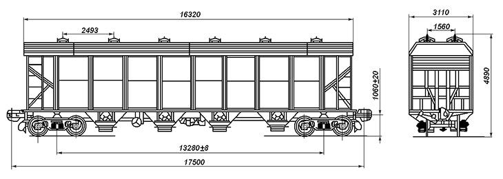 4-осный вагон для технического углерода, модель 25-4046