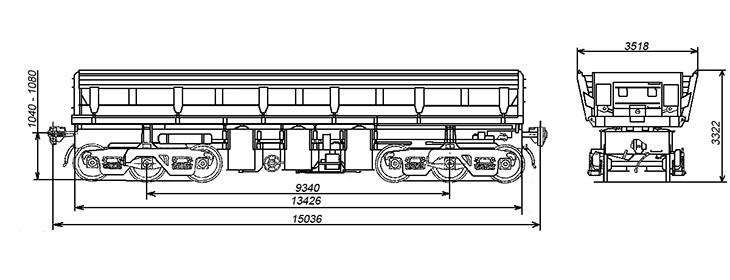 4-осный вагон-самосвал, модель 33-9035