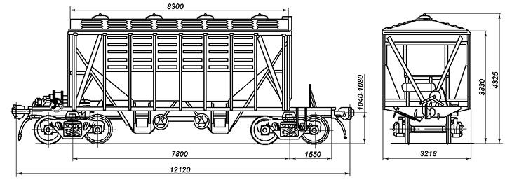 4-осный крытый вагон-хоппер для цемента, модель 55-321