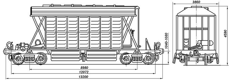 4-осный вагон для перевозки минеральных удобрений, модель 55-350
